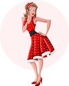 A sexy cartoon pin up girl wearing red dress