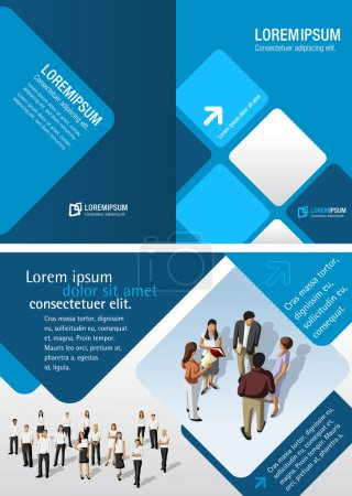 Illustration for Template for advertising brochure with business - Royalty Free Image