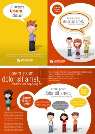 Illustration for Orange and red template for advertising brochure with children students - Royalty Free Image