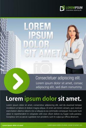 Photo pour Modèle vert et noir pour brochure publicitaire avec femme sur la ville - image libre de droit