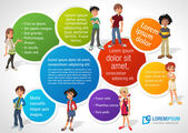 Colorful template for advertising brochure with cool cartoon young and speech balloons Teenagers