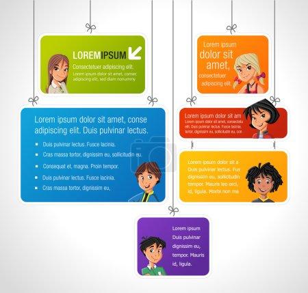Photo pour Modèle coloré pour brochure publicitaire avec des jeunes dessins animés cool et des ballons de parole. Adolescents . - image libre de droit