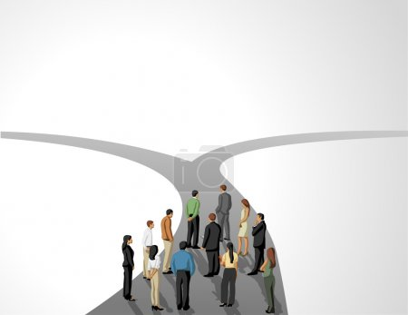 Illustration for Group of business choosing the right path. Multiple options. - Royalty Free Image