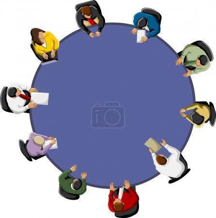 Photo pour Table de réunion avec affaires - image libre de droit