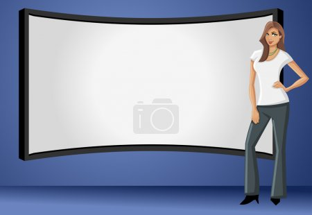 Illustration for Business woman wearing black suit with presentation screen - Royalty Free Image