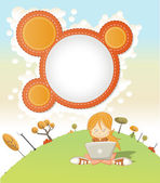 Cute cartoon girl with laptop