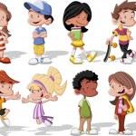 Group of cute happy cartoon kids...
