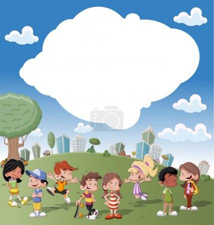 Photo pour Modèle coloré pour brochure publicitaire avec un groupe de mignons enfants heureux dessin animé jouant dans un parc vert sur la ville - image libre de droit