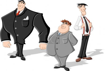 Group of three cartoon business men