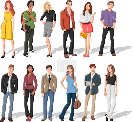 Illustration for Group of fashion cartoon young - Royalty Free Image