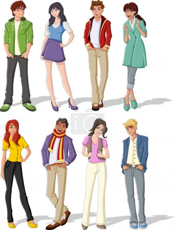 Illustration for Group of fashion cartoon young . Teenagers. - Royalty Free Image