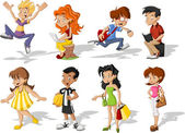 Group of cartoon young  Teenagers