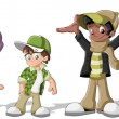 Group of hipster cartoon young . Cool teenagers....