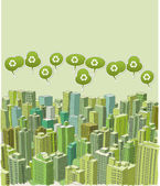 Big green city landscape with buildings with recycling symbol on green speech balloon