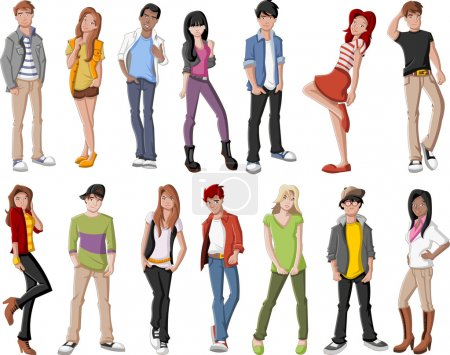 Illustration for Group of fashion cartoon young people. Teenagers. - Royalty Free Image