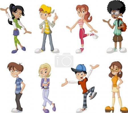 Illustration pour Groupe de huit enfants heureux dessin animé. Adolescents . - image libre de droit