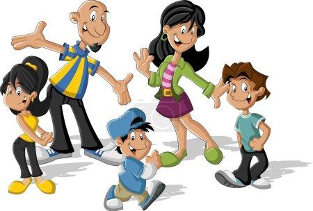 Illustration pour Coloré mignon heureux bande dessinée famille latine. Latino-américains . - image libre de droit