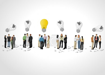 Illustration for Template with groups of business people thinking. Light bulb idea. - Royalty Free Image