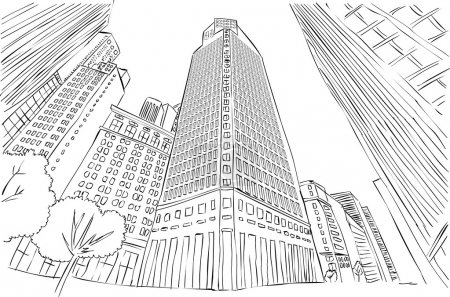 Illustration for Big black and white city landscape with buildings - Royalty Free Image