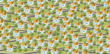 Illustration for Colorful suburb neighborhood with isometric houses. Cartoon city. - Royalty Free Image