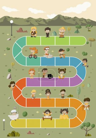 Illustration for Board game with happy cartoon children playing over path on the green park - Royalty Free Image