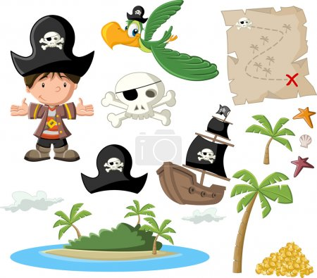 Illustration for Cartoon pirate boy with pirate icon set. - Royalty Free Image