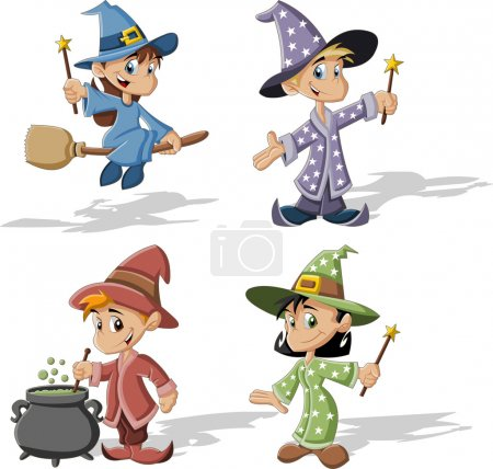 Illustration for Cartoon wizard boys and witch girls. Halloween costume. - Royalty Free Image