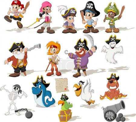 Illustration for Group of cartoon pirates with funny animals. - Royalty Free Image