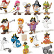 Group of cartoon pirates with funny animals....
