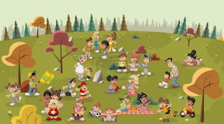 Illustration pour Groupe de gens heureux bande dessinée mignon dans le parc - image libre de droit