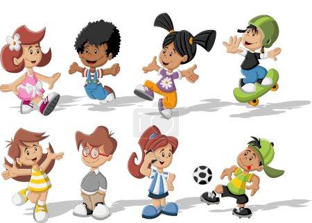 Illustration pour Groupe d'enfants heureux dessin animé - image libre de droit