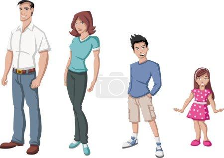 Illustration pour Bonne famille de dessins animés. Les Blancs . - image libre de droit