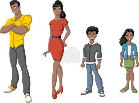 Illustration pour Joyeux dessin animé famille africaine. Peuple noir . - image libre de droit