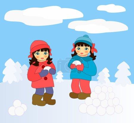 Photo pour Deux petites filles jouant dans la neige . - image libre de droit