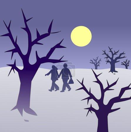 Photo pour Un couple marchant ensemble dans un paysage fantomatique. - image libre de droit