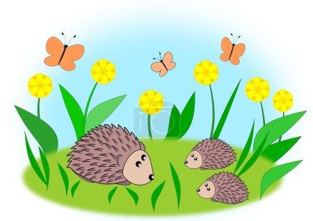 Photo pour Maman hérisson avec deux enfants, entre fleurs et papillons - image libre de droit