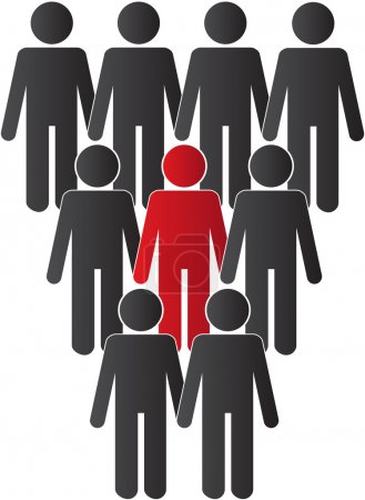 Illustration for One person standing out from the crowd - Royalty Free Image