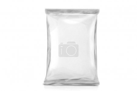 Single White Blank Bag Packaging. Foil package. Metal Pack. ready for your design. isolated over white background