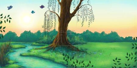 Photo pour Paysage de belle forêt dans la matinée, illustration numérique - image libre de droit