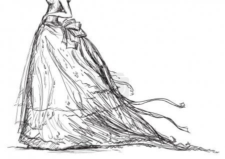 Vector bridal dress drawing