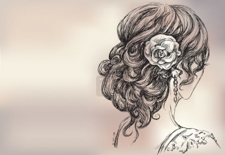Vector drawing of a beautiful girl, bridal hairsty...