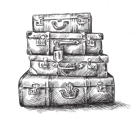 Illustration for Sketch drawing of luggage bags - Royalty Free Image