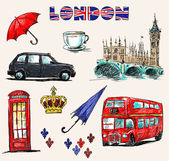 London symbols Set of drawings Sketch style Vector illustration