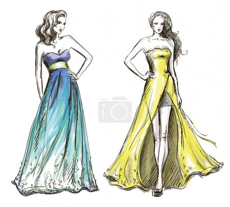Illustration for Fashion illustration. Long dress. Catwalk. Vector EPS 10. - Royalty Free Image