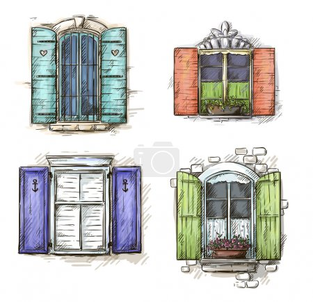 Illustration for Vintage window hand drawn set of vector drawings - Royalty Free Image