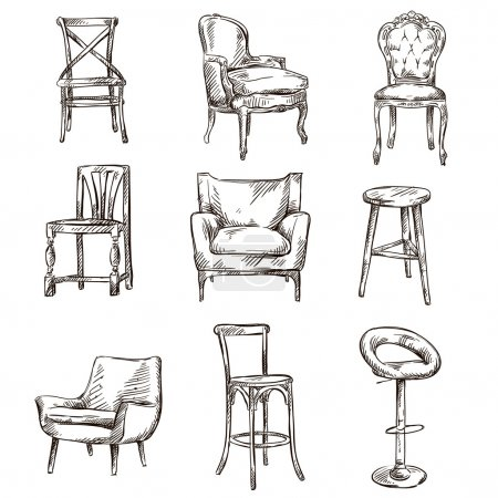 Set of hand drawn chairs interior detail...
