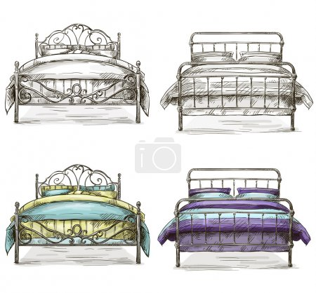 Illustration for Set of beds drawing sketch style EPS 10 - Royalty Free Image