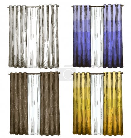 Set of curtains drawings sketch style