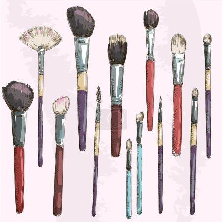Make up brushes collection. Fashion illustration. Vector sketch.
