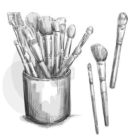 Make up brushes collection. makeup case. Fashion illustration.